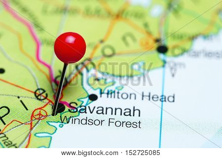 Windsor Forest pinned on a map of Georgia, USA