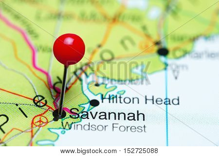 Savannah pinned on a map of Georgia, USA
