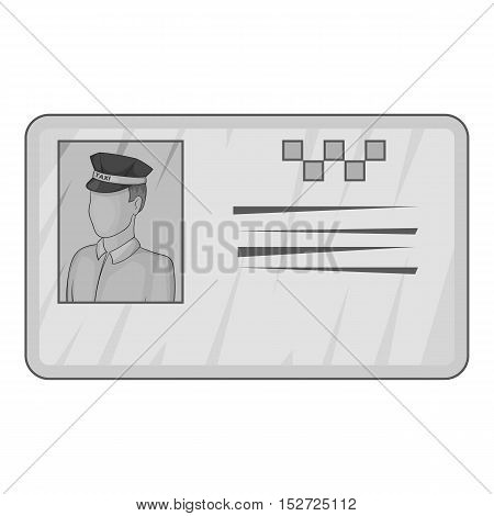 Document taxi driver icon. Gray monochrome illustration of document taxi driver vector icon for web
