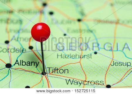 Tifton pinned on a map of Georgia, USA