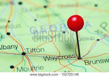 Waycross pinned on a map of Georgia, USA