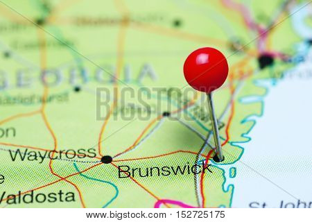 Brunswick pinned on a map of Georgia, USA
