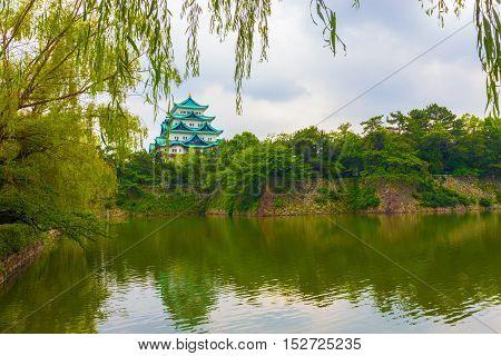 Nagoya Castle Moat Reflection Leaves Frame Tree H