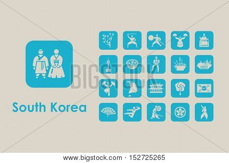 It is a set of South Korea simple web icons