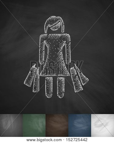 girl with purchases icon. Hand drawn vector illustration. Chalkboard Design