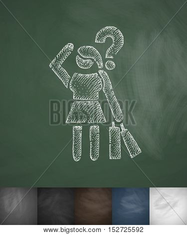 buyer in confusion icon. Hand drawn vector illustration. Chalkboard Design