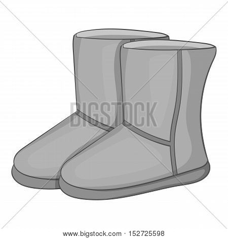 Winter ugg boots icon. Gray monochrome illustration of winter ugg boots vector icon for web