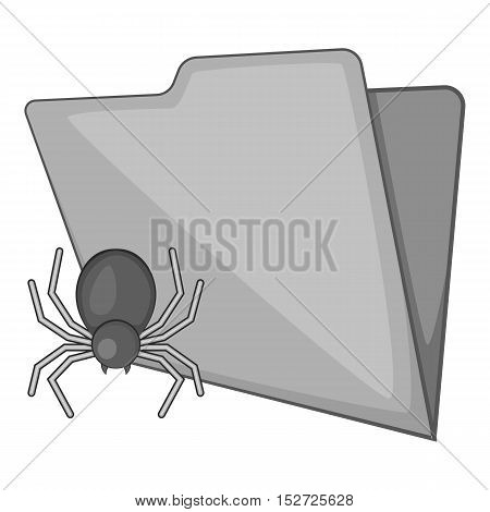 Spider virus in folder icon. Gray monochrome illustration of spider virus in folder vector icon for web