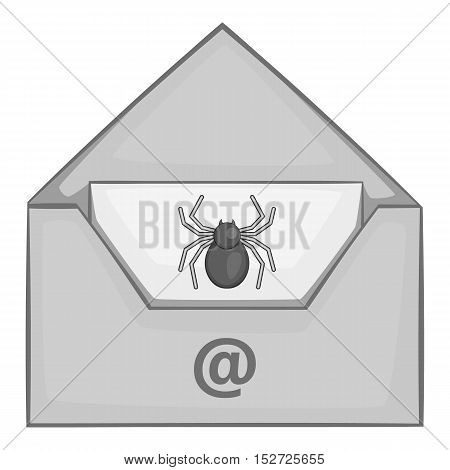Virus in e-mail icon. Gray monochrome illustration of virus in e-mail vector icon for web
