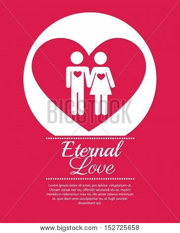 couple over heart eternal love vector illustration eps 10