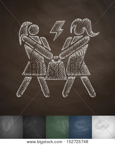 dispute buyers icon. Hand drawn vector illustration. Chalkboard Design
