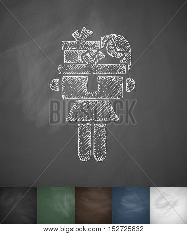 Girl with gifts icon. Hand drawn vector illustration. Chalkboard Design