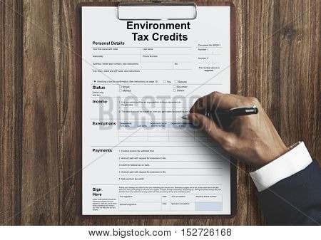 Environment Tax Credits Document Form Concept