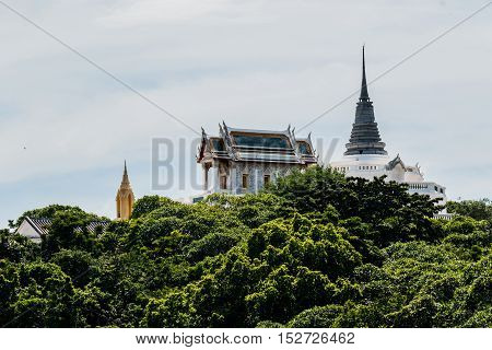 Kao Wang ancient palace and Pagoda in top of hill in PetchaburiThailand