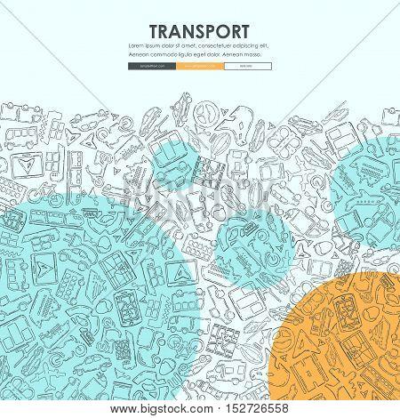 transport Website Template Design with Doodle Background