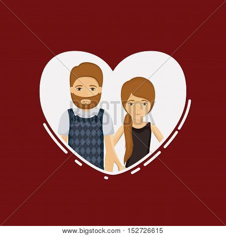 Couple of woman and man cartoon inside heart. Relationship family romance and love theme. Vector illustration