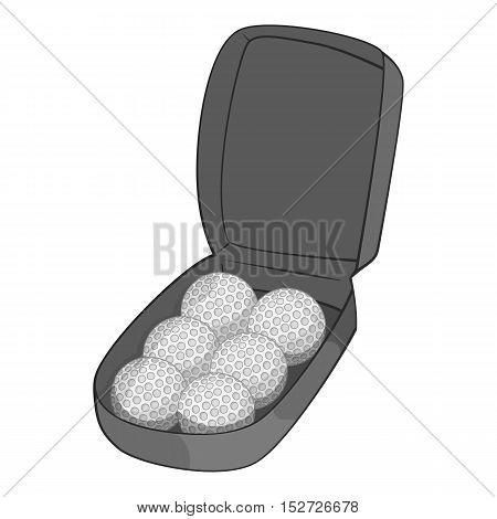 Bag for golf balls icon. Gray monochrome illustration of bag for golf balls vector icon for web