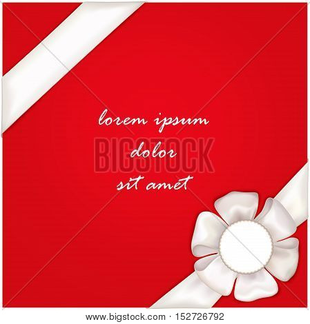 Vector realistic banner with satin ribbon and bow. Festive template for web and print