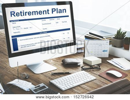 Retirement Plan Financial Investment Application Form Concept
