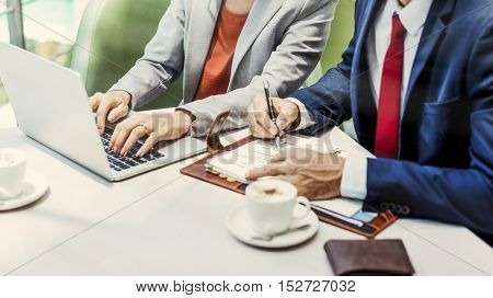 Business People Discussion Laptop Technology Togetherness Concept