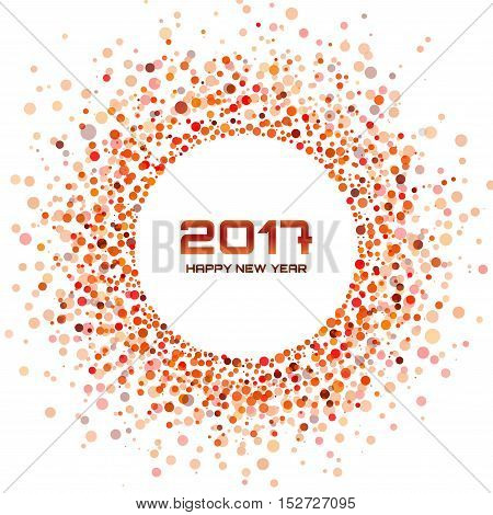 Red Bright New Year 2017 circle border design on white Background. Light confetti circle new year frame. Red transparent circle background. Vector illustration