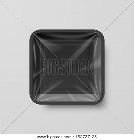 Empty Black Plastic Food Square Container on Gray