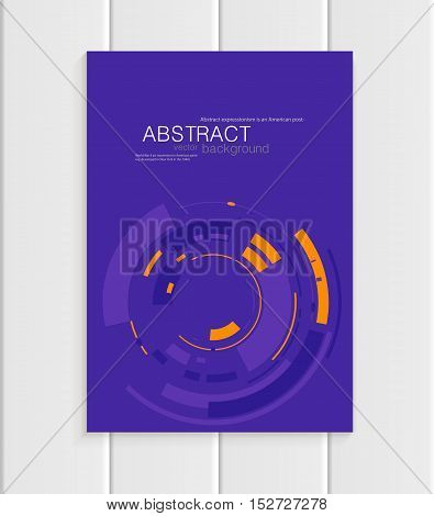 Stock vector brochure in abstract style. Design business templates with yellow rounds, violet rectangular shapes on purple background for printed materials, elements, web site, card, covers, wallpaper
