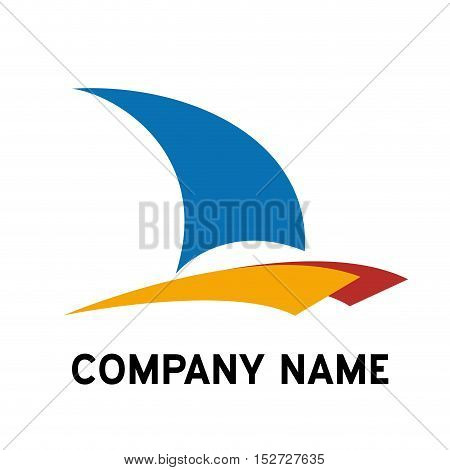 Vector sign catamaran yacht and boat in abstract shape
