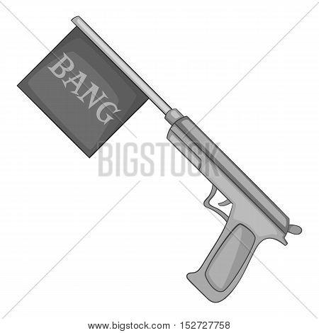 Gun with flag toy icon. Gray monochrome illustration of gun with flag toy vector icon for web