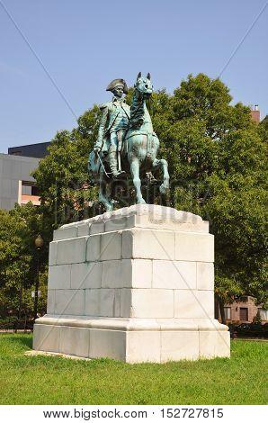 Washington Statue in Washington Circle in downtown Washington DC, USA.