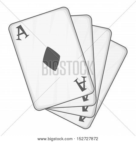 Playing card icon. Gray monochrome illustration of playing card vector icon for web