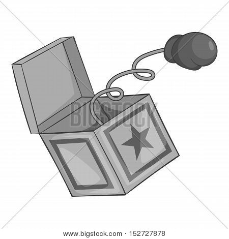 Hand on spring in box icon. Gray monochrome illustration of hand on spring in box vector icon for web