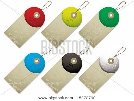 Collection of six tags with drop shadow and color variation