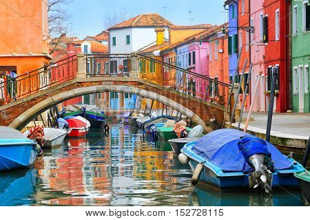 Colorful Houses On Burano, Venice, Italy
