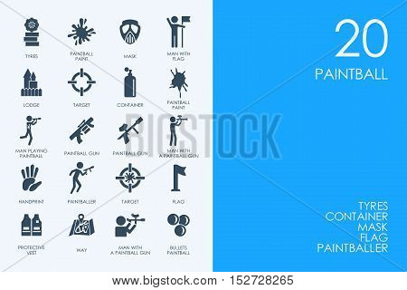 BLUE HAMSTER Library paintball vector set of modern simple icons