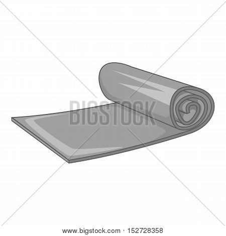 Yoga mat icon. Gray monochrome illustration of yoga mat vector icon for web