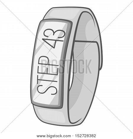Fitness smart bracelet icon. Gray monochrome illustration of fitness smart bracelet vector icon for web