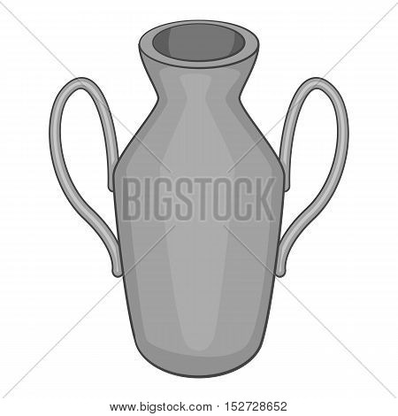 Ancient vase icon. Gray monochrome illustration of ancient vase vector icon for web