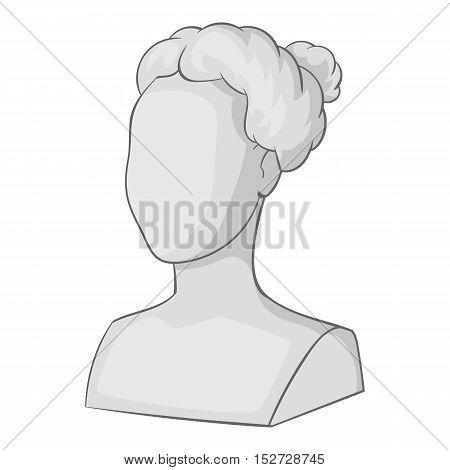 Female statue head icon. Gray monochrome illustration of female statue head vector icon for web