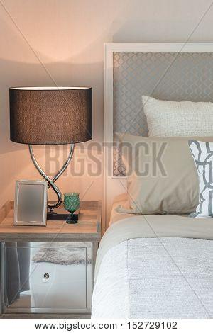 Tea Set Cup On Wooden Tray In Bedroom
