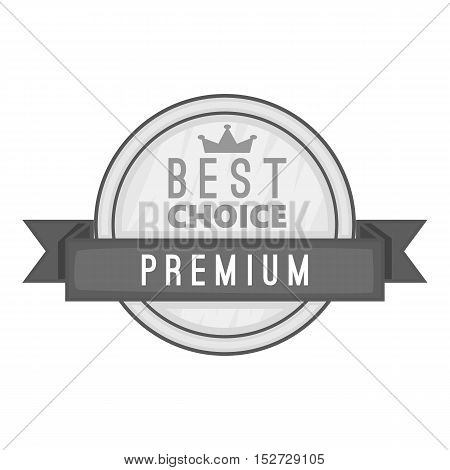 Label best choice premium icon. Gray monochrome illustration of label best choice premium vector icon for web