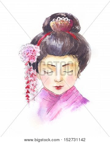 geisha watercolor portrait isolated on white background