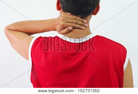 close-up of Adult man with neck pain
