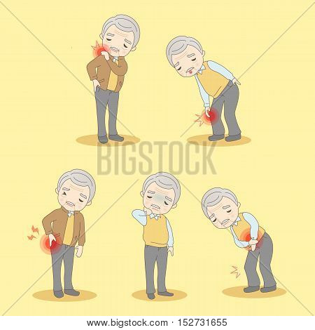 cartoon old man have body aches great for your design