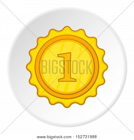 Gold medal for first place icon. Cartoon illustration of gold medal for first place vector icon for web