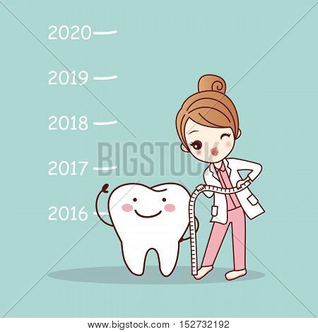 cute cartoon tooth note with woman dentist