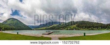 panorama of Erlaufsee lake near Mariazell Austria
