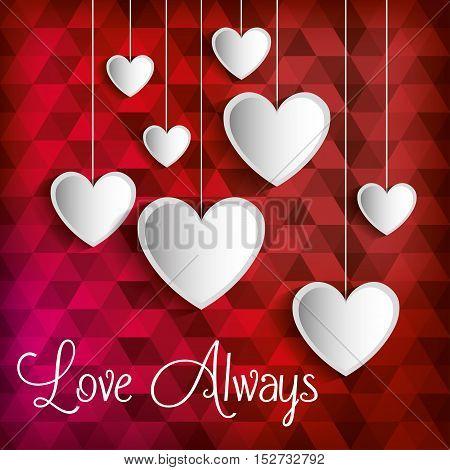 poster love always heart hanging vector illustration eps 10