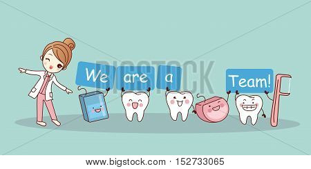 We are a team - cute cartoon tooth with floss and floss pick great for health dental care concept