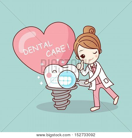 Happy cartoon tooth and dentist take toothbrush and magnifying with love heart